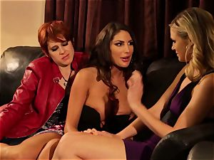 August Ames and Lily Cade strap on sofa bang-out