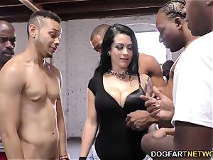 Katrina Jade deepthroats many black boners
