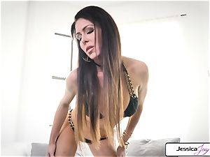 Jessica Jaymes flash you her ginormous hooters and raw cunny