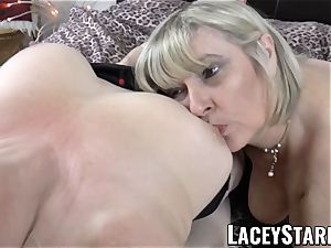 LACEYSTARR - 2 huge-chested grannies pleasuring one fortunate manhood