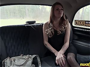Backseat unclothing leads to creampie