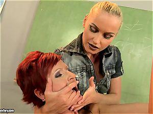 Kathia Nobili dildoing the gullet of a super hot babe