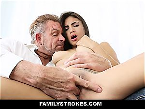 youthful Latina sandwiched by step-dad and stepbro