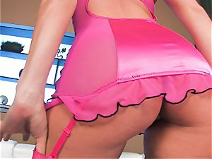 small boobed Tori ebony with her bouncy caboose in undergarments pantyhose
