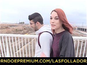 LAS FOLLADORAS - Silvia Ruby takes random stud for hook-up