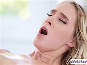super-steamy educator Brett Rossi massage her college girl Cadence Luxs and munches her twat