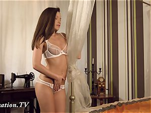 virgin Anna jerks in front of the camera
