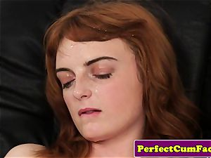 Stockinged ginger-haired facialized in office