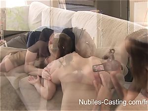 porn casting leaves nubile melons dripping with spunk