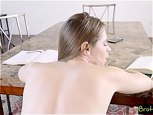 super-fucking-hot sista tortures her step brutha by groping his large shlong