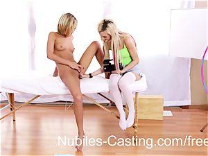 super-cute blond teenage interchanges cum with casting agent