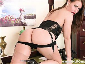 dark haired assistant milks on desk in underwear and nylons