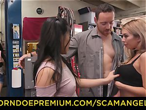 SCAM ANGELS - Blackmail 3 way intercourse with crazy babes