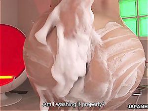 provocative Karin Kusunoki pleases jizz-shotgun with her fur covered slit