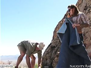 insatiable bitch gets poked in the mountains with escort
