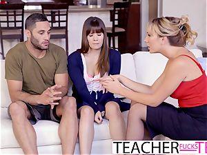 super-steamy instructor Tricks college girls Into 3 way pummel