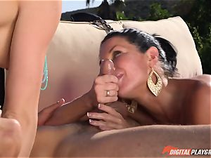 Chanel Preston and Veronica Avluv fucked deep in the steamy drizzling cooch pies