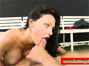 chesty portuguese cockslut torn up in butthole