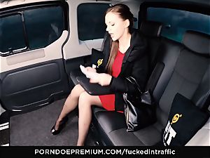 penetrated IN TRAFFIC Tina Kay footjob in the backseat