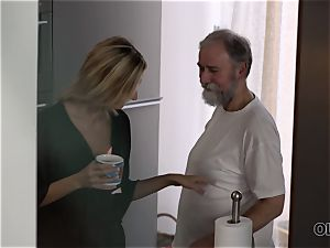 OLD4K. hotty takes part in sultry hookup with wonderful elderly dad