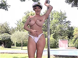 big-titted Lou Lou's tempting pole dance exclusive