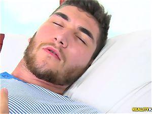 cumming on the face of warm euro stunner Tina Kay after a hard vag penetrate