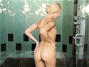 Elsa Jean super-steamy getting off in the bathroom