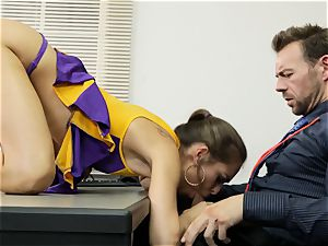 Cheerleader Riley Reid getting her arms on a lecturer