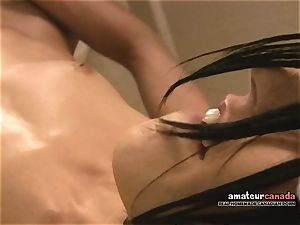 skinny French damsel with lil' titties ejaculates using ben