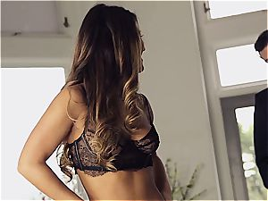 mind-blowing Eva Lovia is teaching her bf some manners before the soiree