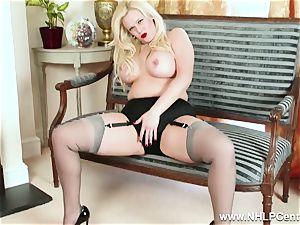 bodacious blondie jerks in grey nylons and high heels