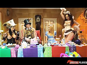 Alice in her wonderland hook-up party porked by the furious hatter