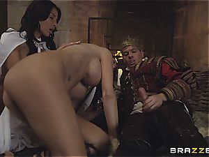 Alluring Anissa Kate and Jasmine Jae conform the king's will and rod