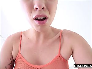little sis Jade Nile wants her bro to jizz on her facialed mammories